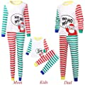 Gufenban Family Clothes Pajamas 2PCS Christmas Children Cartoon Santa Top+Stripe Pants