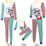 Gufenban Family Clothes Pajamas 2PCS Christmas Children Cartoon Santa Top+Stripe Pants(Girls-Boys-White,9-10 Years)