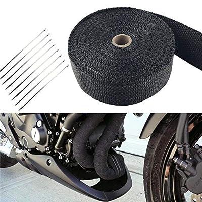 """2pcs Roll x 2"""" 50Ft Black Fiberglass Exhaust Header Pipe Heat Wrap Tape+20 Ties Kit"""