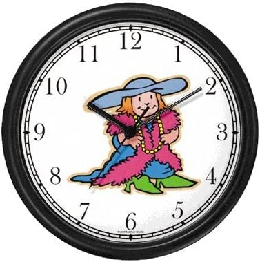 Little Girl Playing Dressup or Dress Up Wall Clock by WatchBuddy Timepieces Hunter Green Frame