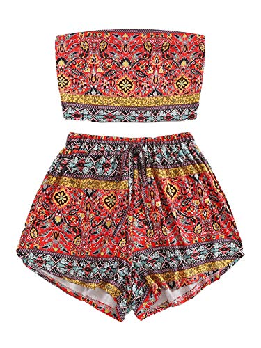 SweatyRocks Women's Boho Bandeau Tube Crop Top with Shorts Set 2 Piece Outfits Multicolor #3 L ()