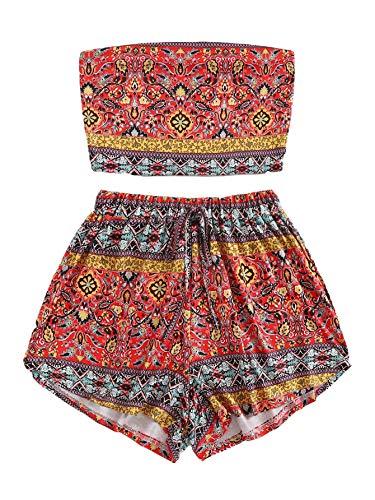 SweatyRocks Women's Boho Bandeau Tube Crop Top with Shorts Set 2 Piece Outfits Multicolor #3 L