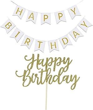 Amazon.com: YOFEY1 - Pancarta de feliz cumpleaños, color ...