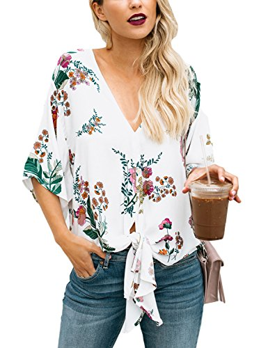 - Lookbook Store Women's Floral Printed Deep V Neck Tie Front Chiffon Blouse Tops Shirts Size Medium(US 8-10)