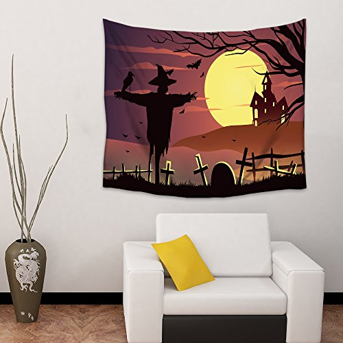 Mosphee Tapestry Wall Hanging, Halloween Scarecrow Nightfall Large Wall Art Tapestries Picnic Blanket Beach Towels for Bedroom Living Room Dorm Decor - 60 x 90 Inches
