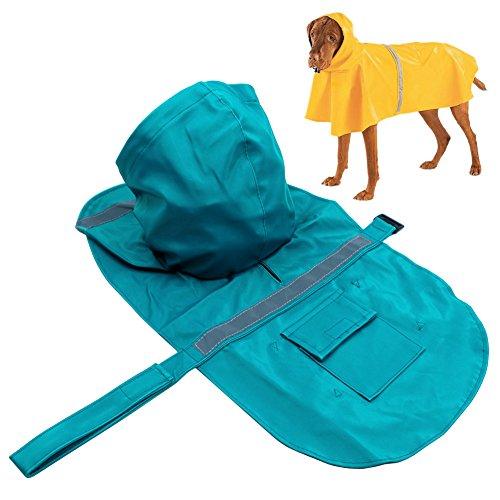 Hunderegenmantel, PETBABA Reflektierend Wasserdicht Hune Regenjacke mit Kapuze für Hunde Türkisblau M