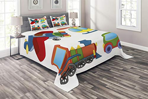 Lunarable Cartoon Coverlet, Toy Vehicle Images for Children Fun Airplane Doodle Helicopter and Car Old Train, 3 Piece Decorative Quilted Bedspread Set with 2 Pillow Shams, King Size, Multicolor ()