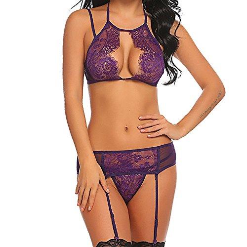 - ✔ Hypothesis_X ☎ Women Lace Lingerie Set with Garter Belts Lace Teddy Babydoll Bodysuit Purple