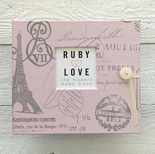 Pink Parisian Toile Baby Memory Book - 1st Year Baby Book (Parisian Memories)