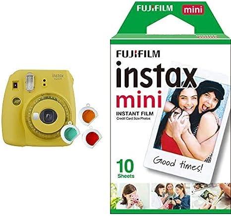 Fujifilm Instax Mini 9 - Cámara instantanea, Amarillo + Pack de 10 ...
