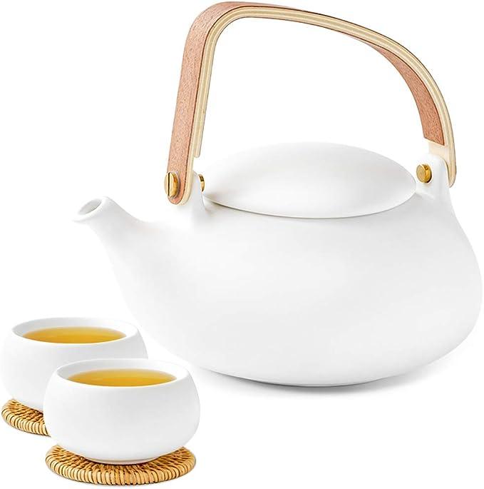白色哑光陶瓷茶壶+2杯子!享受禅意生活