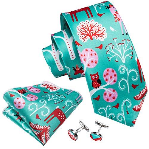Silk Christmas Tie Set Men New Year Tie Pocket Suqare Cufflinks Holiday Necktie - Christmas Holiday Cufflinks