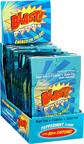 Blast Power Gum Peppermint Flavor with 80mg Caffeine, 6 Pieces per Pouch (Box of (Power Gum)