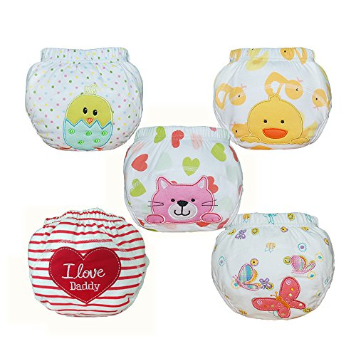 Price comparison product image Babyfriend Baby Girls' Reusable 5 Pack Toilet Training Pants Nappy Underwear Cloth Diaper TP5-003