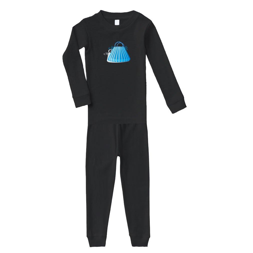 Blue Purse Cotton Long Sleeve Crewneck Unisex Infant Sleepwear Pajama 2 Pcs Set Top and Pant - Black, 6 Months