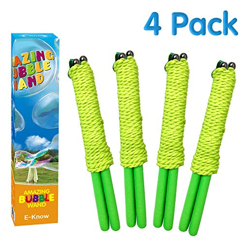 (E-Know Bubble Wand, 4 Pack Giant Bubble Wand Outdoor Toy for Kids Made with Durable, Recyclable Stainless Steel, Telescopic Design Bubble Party Favors-Works Best with Bubbleventi Giant Bubble Mix)