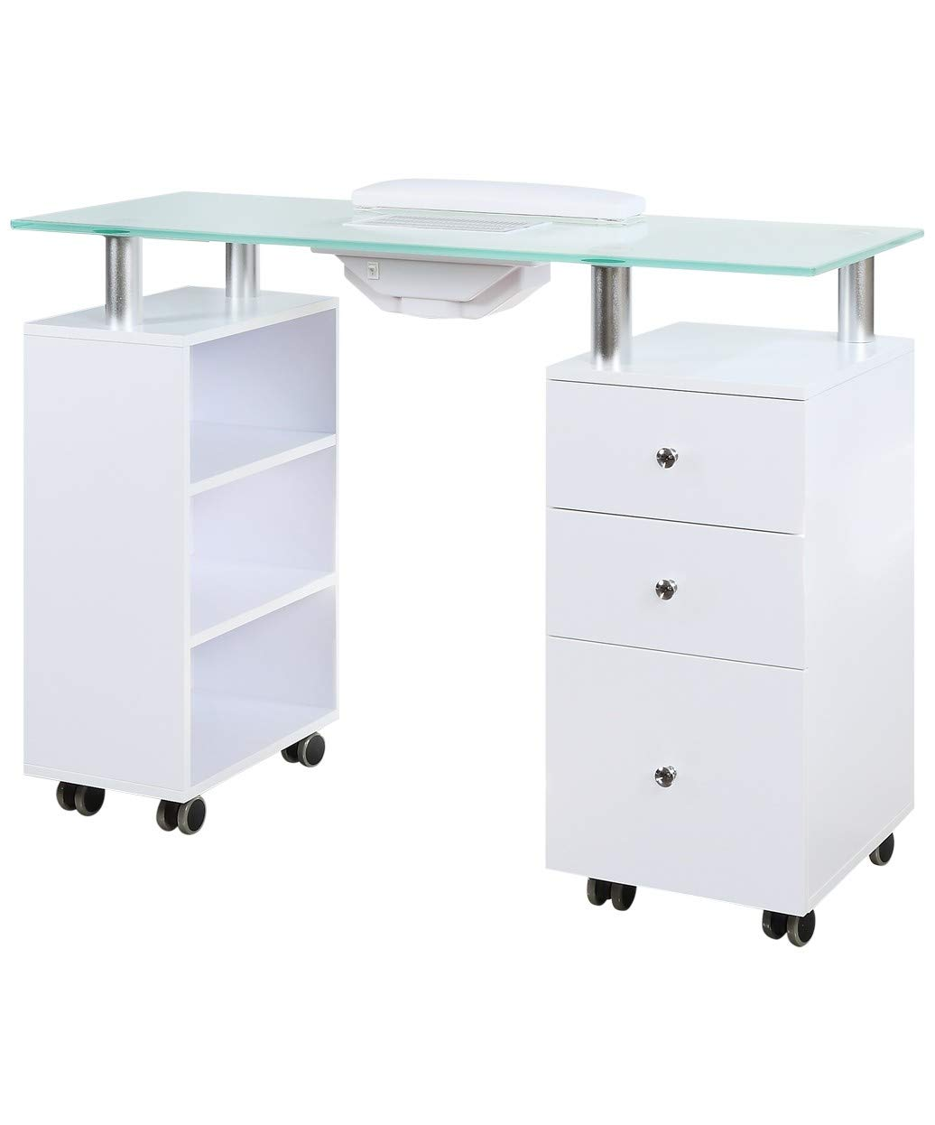 J A Glass Top Manicure Table w Draft Vent – White