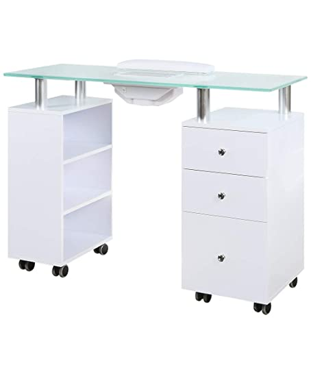 J A Glass Top Manicure Table