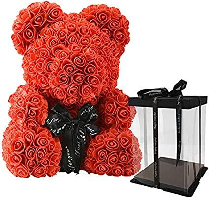 Qlans Rose Bear Toy, a Forma di Orso Bambole Fiori Artificiali per