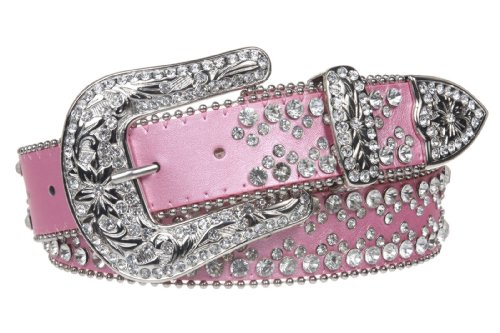 Snap On Western Cowgirl Rhinestone Studded Metallic Leather Belt Size: M/L - 38 Color: -