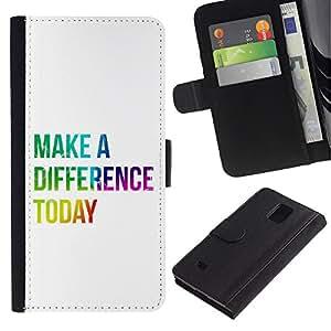 Billetera de Cuero Caso Titular de la tarjeta Carcasa Funda para Samsung Galaxy Note 4 SM-N910 / BIBLE Make A Difference Today / STRONG