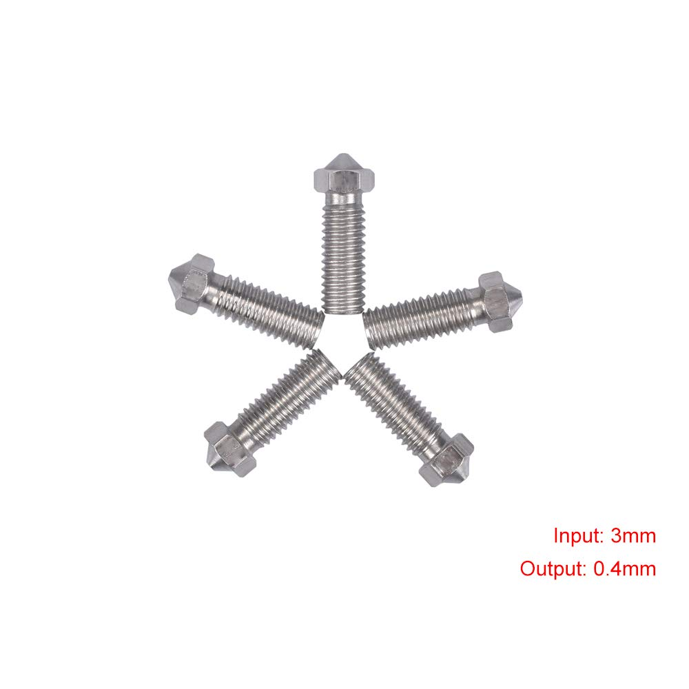 Mech Solutions Ltd 10pcs 0.4 mm Volcano E3D for 1.75 mm Filament Extruder 3D Printer Brass Nozzle