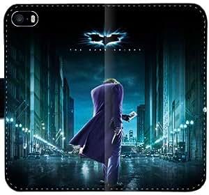 El caso Dark Knight C1H8Q Funda iPhone 5 5S 5SE Cartera de cuero funda 355J87 fundas caja del teléfono celular del tirón Pretty