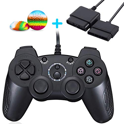 (CONNYAM Wired Controller for PS2, Double Vibration Gamepad for Sony Playstation 2 PS2 (Support Turbo), 1 x 6ft Controller Extension Cable and 2 x Thumb Grips Included)