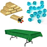 Gold Bar Favor Boxes - 3 Inch (Pkg of 12), Bright Blue Acrylic Large Gems (16), and Plastic Printed Grass Tablecloth (54x102)
