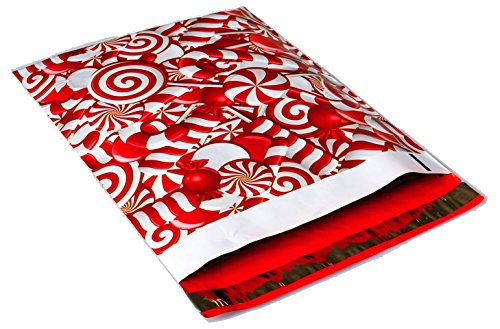 Poly Mailers Candy Cane Christmas Designer Poly Mailers Custom Bags Red & White Shipping Envelopes Plastic Bags #SmileMail (100 10x13, Candy ()