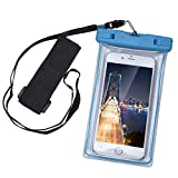 KATTEONG WCH8313 Water-Proof Case Dry Bag Cell Phone Pouch with Military Lanyard Strap for Kayaking Skiing Sledding, Best Water-Proof Case for iPhone 7/6/6S Plus/5S/SE, Samsung Galaxy S7 - Blue