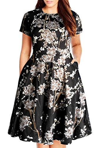 (Nemidor Women's Round Neck Summer Casual Plus Size Fit and Flare Midi Dress with Pocket(Black Print, 16W))