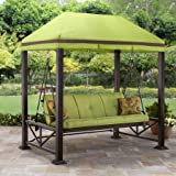 Sturdy 3-1/8 Steel Posts with Hidden Anchor System, Multifunctional 3-person Swing, Fade Resistant Fabric Cushions