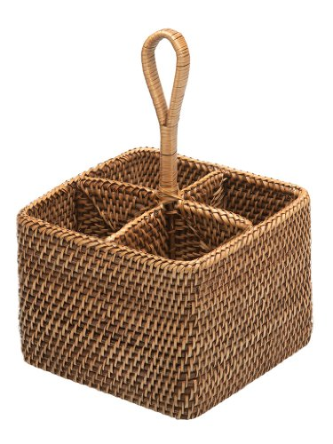 KOUBOO Rattan Bottle and Silver Caddy, Honey Brown