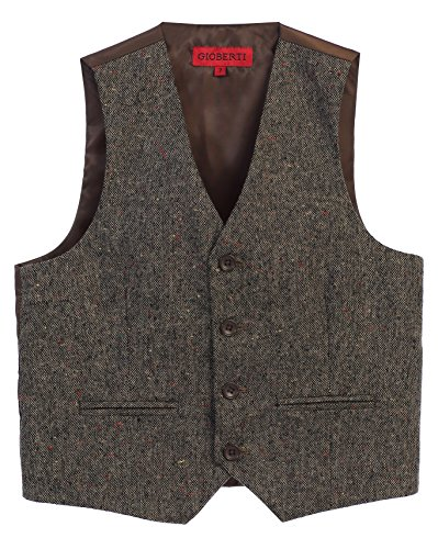 Gioberti Boy's Plaid Formal Suit Vest, Donegal Brown, Size 16