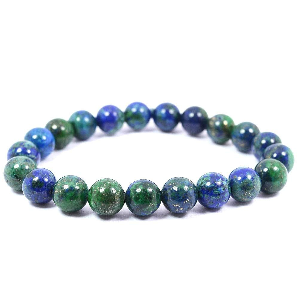 Reiki Crystal Products Natural Azurite Bracelet 8mm for Reiki Healing and Vastu Correction Protection Concentration Spirituality and Increasing Creativity