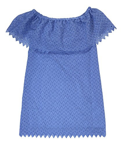 (kensie Womens Off-The-Shoulder Eyelet Party Dress Blue XL)