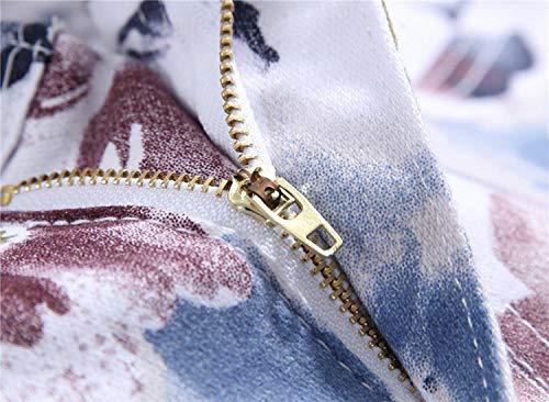 Moda color Size Fit Stampa Vita 30 Denim Da A Uomo Elasticizzati Vintage Media Pantaloni Dritta Jeans Casual Slim Bianca xnp71qwTwZ