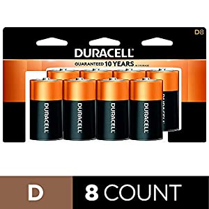 Duracell – CopperTop D Alkaline Batteries with recloseable package – long lasting, all-purpose D battery for household and business – 8 count
