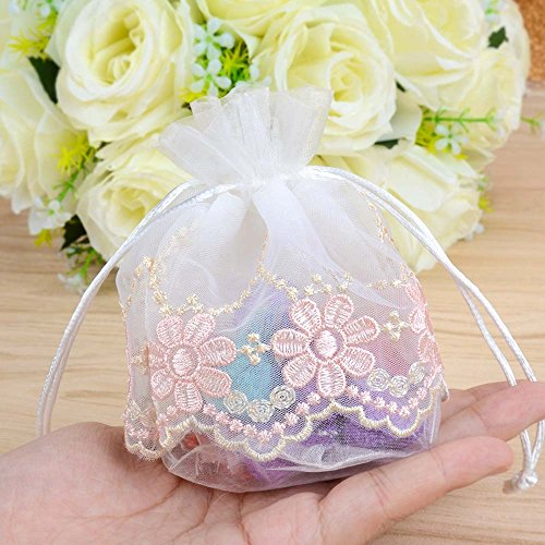017626048c52 VU100 Organza Bags 4x4 Drawstring Gift Bags, Premium Floral Lace Small  Storage Mesh Bags, for Jewelry Candy Baby Shower Wedding Party Favors Bags  (4 ...