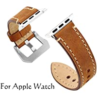 Apple Watch Band, YZtree 42mm iWatch Band Strap Premium Vintage Genuine Leather Replacement Watchband with Secure Metal Clasp Buckle for Apple Watch Sport Edition (Brown)