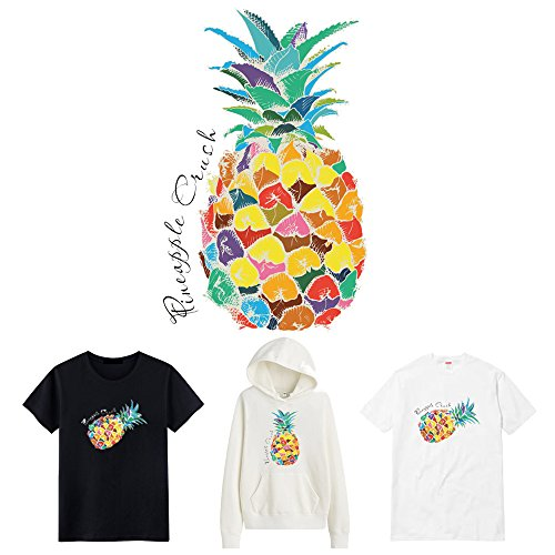 Vinyl Patch Sticker, Large Colorful Pineapple Iron on Printing Heat Transfer Sticker Patch for Kids T Shirts, Women Jeans, Clothes. Hot Fruits Design for Party DIY Teamwork ()