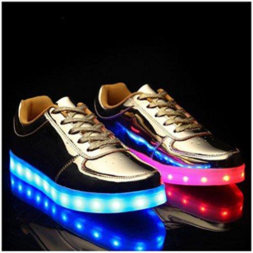 [Present:kleines Handtuch]JUNGLEST® Frauen Männer USB Lade LED leuchten Schuh Blink P Gold