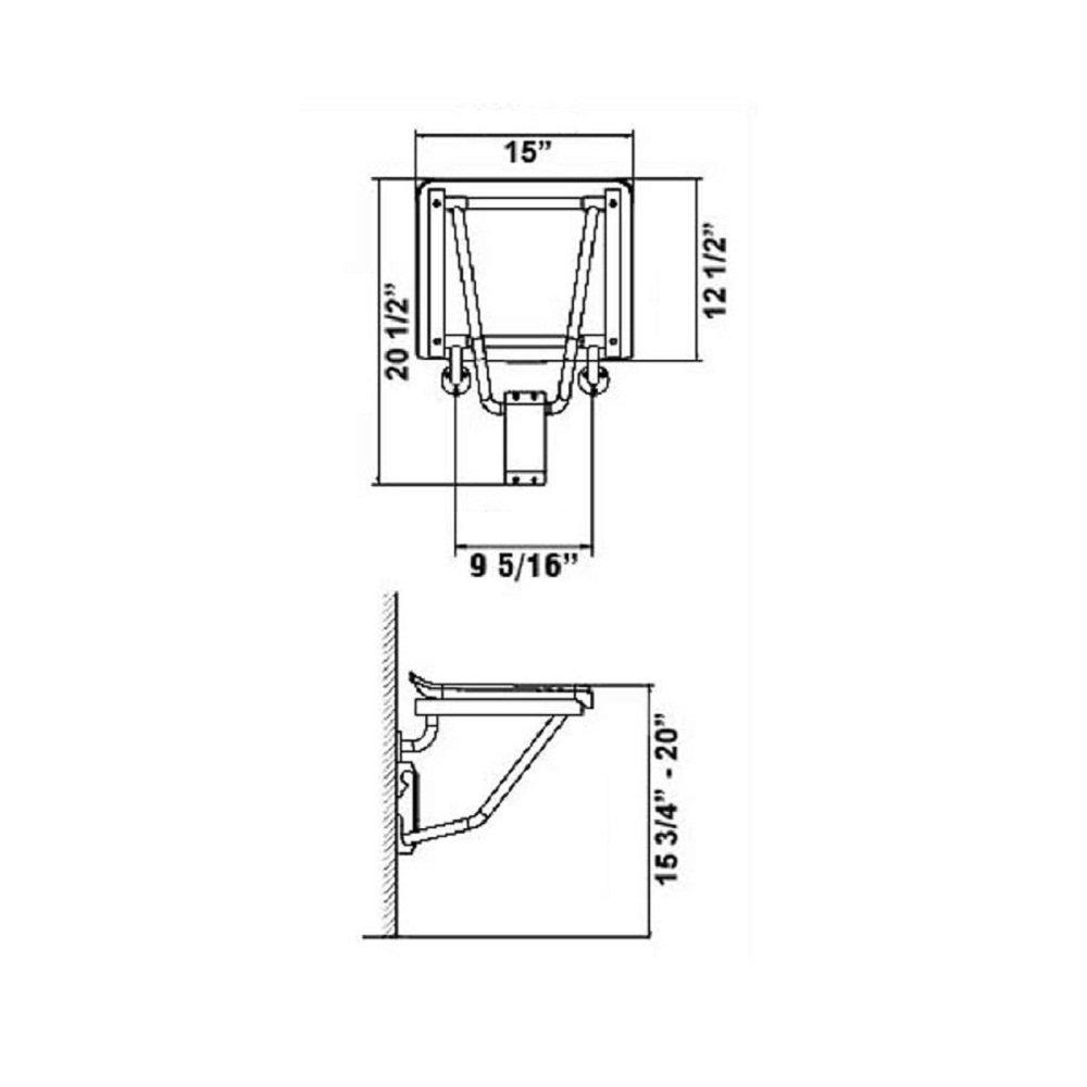 DreamLine Natural Teak Folding Shower Seat, SHST-01-TK by DreamLine (Image #2)