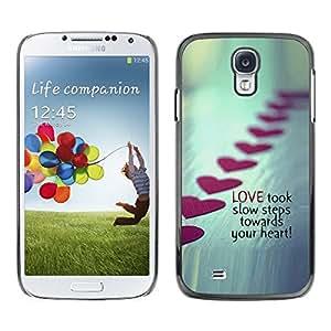 TECHCASE**Cubierta de la caja de protección la piel dura para el ** Samsung Galaxy S4 I9500 ** Love Steps Valentines Heart Line Metal