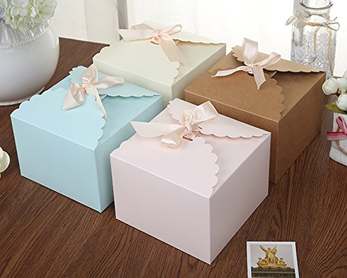 et of 12 Decorative Treats Boxes, Cake, Cookies, Goodies, Candy and Handmade Bath Bombs Shower Soaps Gift Boxes for Christmas, Birthdays, Holidays, Weddings (Solid Color) (Christmas Candy Gift Box)