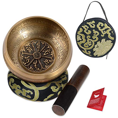5 Inch Small Bowl - SHANSHUI 5'' Tibetan Singing Bowl Set, Nepal Antique Bronze Mantra Carving Hand Hammered, Sound For Yoga Chakras Healing Meditation Zen With Leather Striker Surface Mallet and Silk Cushion Gift -Black