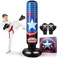 """AstarX Kids Punching Bag, Inflatable 5' 4"""" Boxing Bag Stand with Gloves for Practicing Karate, Taekwondo, MMA"""