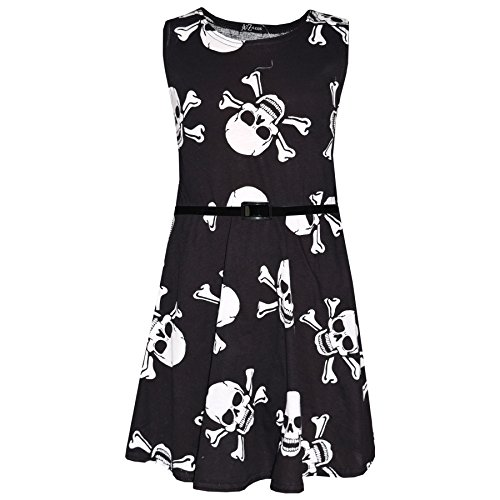 Kids Girls Boys Skull Print Crop Top Legging Skater Dress Halloween Costume 5-13 -