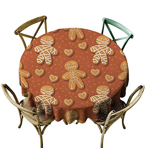SKDSArts Table Cloth for Outdoor Halloween Gingerbread pattern1 D50,for Umbrella Table -